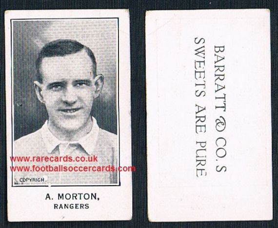 1926 A. Morton Glasgow Rangers matt white Barratt's Sweets Are Pure card